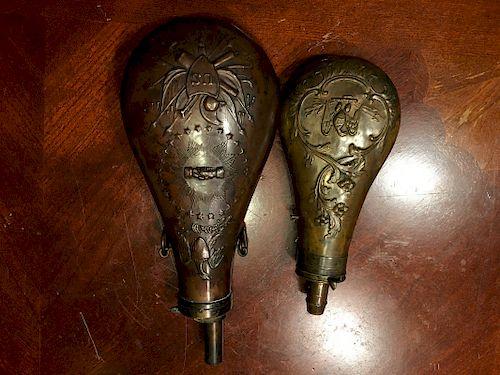 Old Pair Brass Powder flaskes, 1848