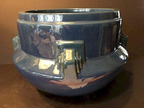 Vintage Dark Blue artcraft Roseville Jardiniere. Silver label underneath