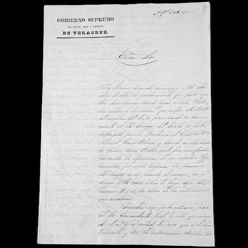 "DOCUMENTO: López de Santa Anna, Antonio  México 1828 - Comunicado Jalapa. ""...Por el correo de anoche comunique a [...."