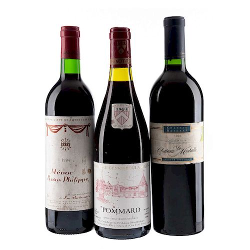 Lote de vinos U.S.A. y Francia. Château Ste. Michelle, Baron Philippe y Pommard. Total de piezas: 3.