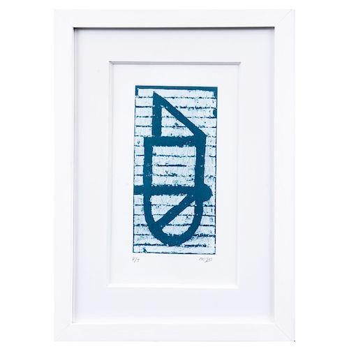 VICENTE ROJO. De la serie Juego de letras. Firmado. Grabado al azúcar y aguatinta, P/T. Enmarcado. 23.5 x 11.5 cm