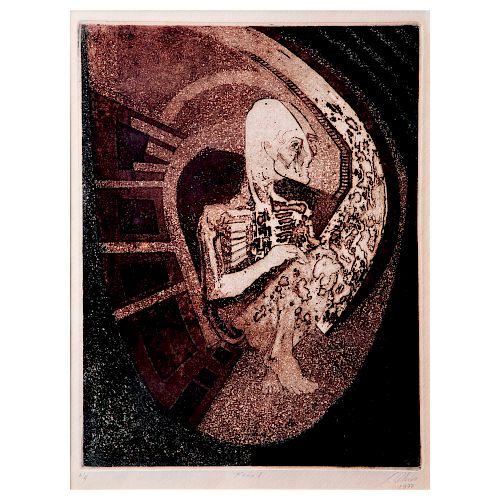 JULIO CHICO. Feto I. Firmado y fechado 1977. Grabado al aguafuerte, P / 4. Enmarcado. 31 x 24 cm