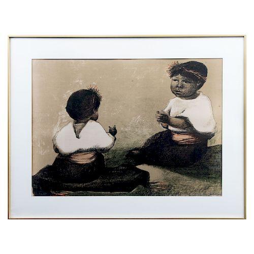 FANNY RABEL. Niñas de Chiapas. Firmada. Litografía, 1/100 Con marca de agua del TGM. Enmarcada. 53 x 73 cm