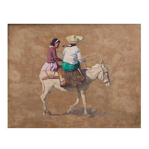 Gerald Grace. Mujeres en asno. Óleo sobre fibracel. Enmarcado. 55 x 70 cm