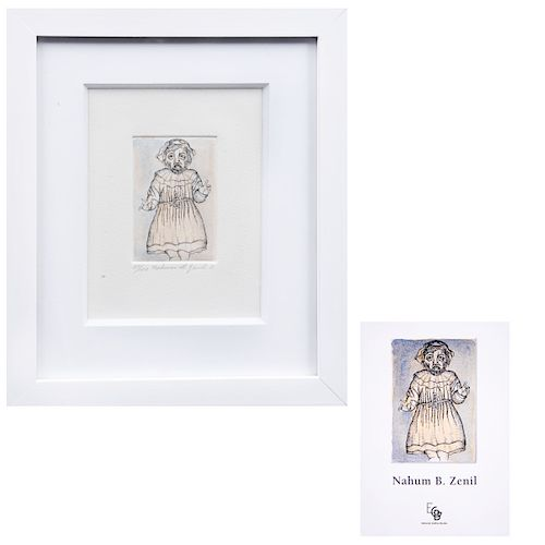 NAHUM B. ZENIL. El divino niño Jesús Firmado y fechado 11 Grabado al aguafuerte y aguatinta 20 / 100. 9 x 6 cm