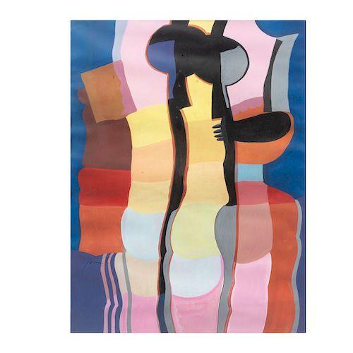 Iván Cuevas. Sin título. Firmado. Acrílico sobre papel. Enmarcado. 61 x 47 cm