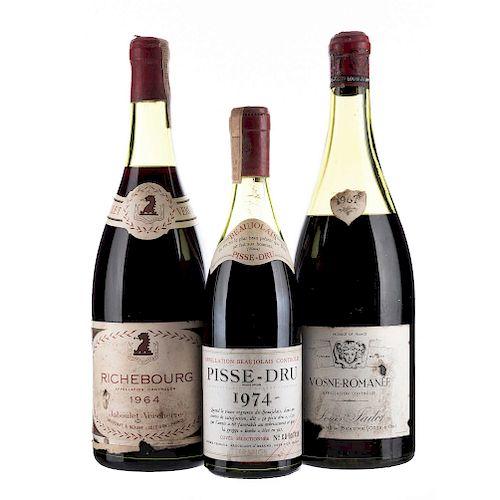 Vinos de Francia. Pisse - Dru, Vosne - Romanée, Richebourg. Total de piezas: 3.