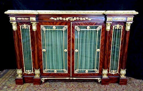 EMPIRE STYLE DORE BRONZE MOUNTED MARBLE TOP GLASS DOOR CABINET