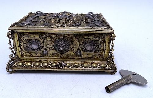 19TH C. STERLING REPOUSSE SINGING BIRD BOX