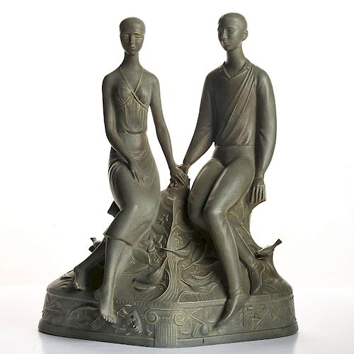 RARE ROYAL DOULTON FIGURE, MARRIAGE OF ART AND INDUSTRY