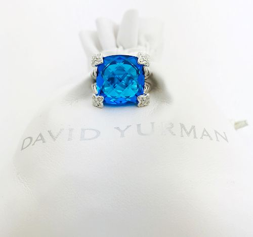 David Yurman Blue Topaz Cushion Diamond Ring Sz 5
