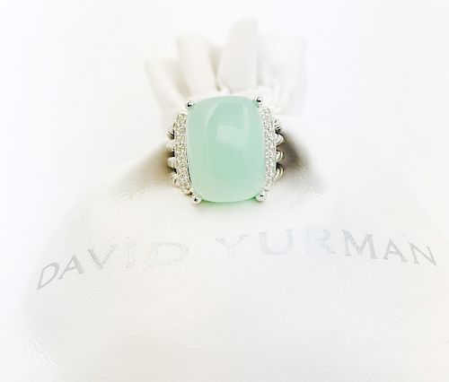 David Yurman Aqua Chalcedony Diamond Wheaton Ring Sz 5