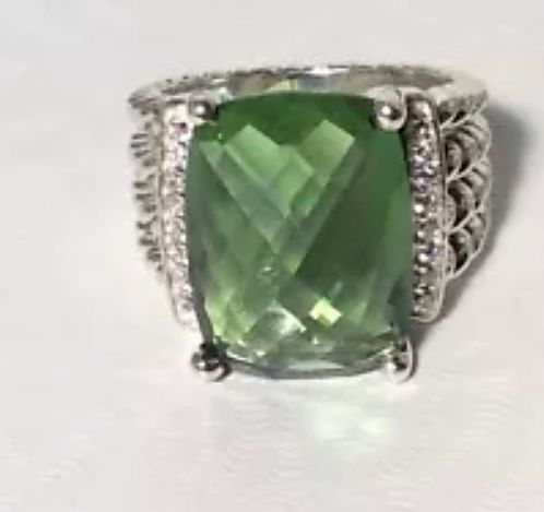 David Yurman Wheaton Peridot Diamond RingSz 6