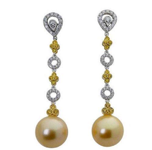 18k Gold 1.00 TCW Yellow & White Diamond Pearl Earrings