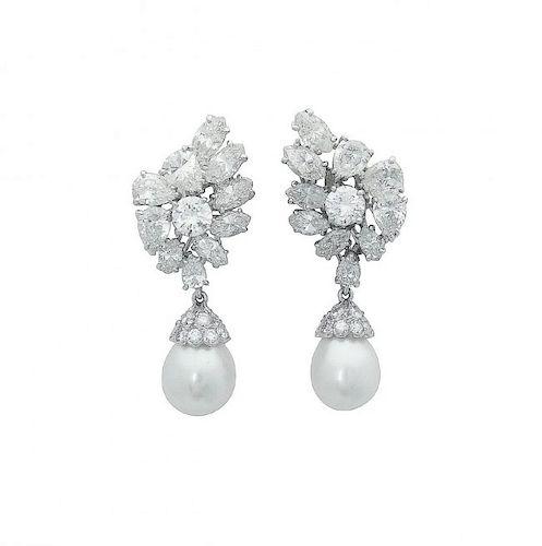 Estate Platinum Pearl 10Ct VVS Clarity Diamond Earrings