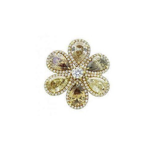 18k Yellow Gold 8.40 TCW Fancy Pear Shape Diamond Ring