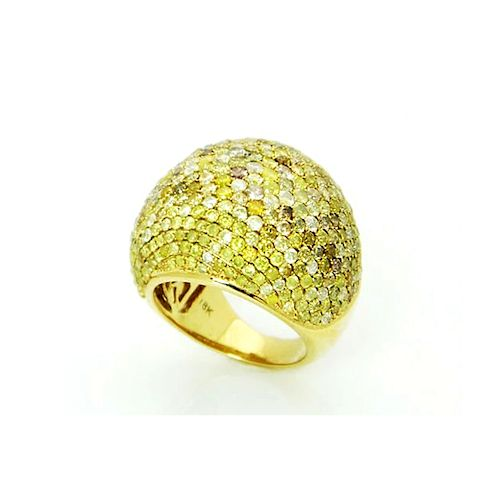 18K YELLOW GOLD 6.76 TCW FANCY DIAMOND DOME RING