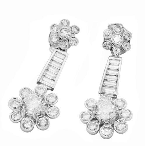18k 4.27 TCW Diamond Drop Dangle Earrings