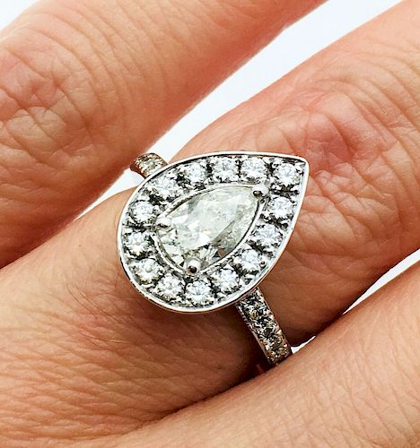 18k White Gold 0.60ct Diamond Center Ring Size 4.5