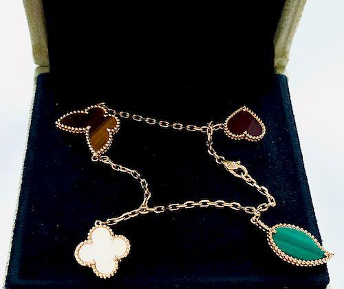 Van Cleef & Arpels 18k Lucky Alhambra 4 Motif Bracelet