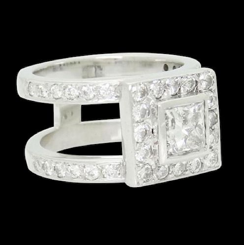 14k Gold 1.90 Ct TCW Princess Center Diamond Ring