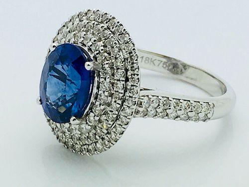 18k White Gold 0.40 Diamond & 2.47ct Sapphire Ring