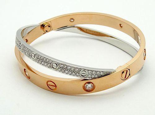 Cartier 18k Pink & White Gold Diamond Bracelet
