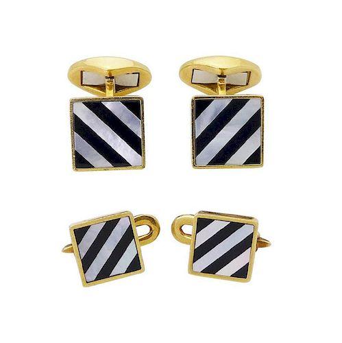 Tiffany & Co 18k Yellow Gold Cufflinks & Shirt Set