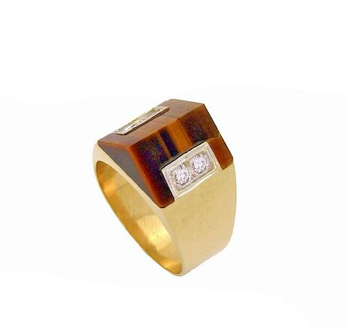 Van Cleef & Arpels Tiger Eye & Diamond Pyramid Ring 14k