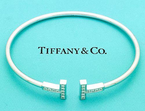 Tiffany & Co 18k Gold Diamond T Wire Bracelet