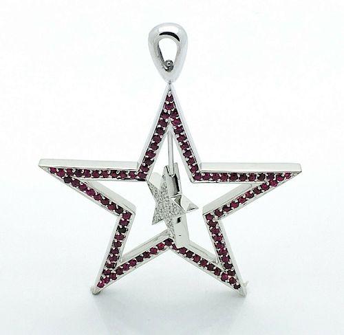 GIRASOLE STARS 18K DIAMOND RUBY PENDANT
