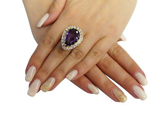 14k Yellow Gold 1.25 TCW VS1 E Diamond Amethyst Ring