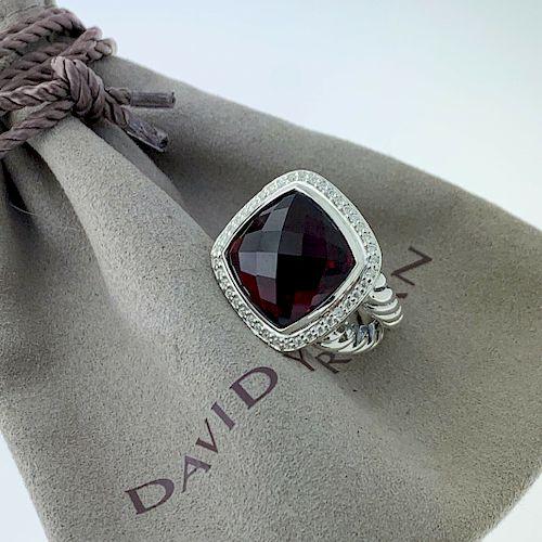 David Yurman Albion 20mm Garnet Diamond Ring