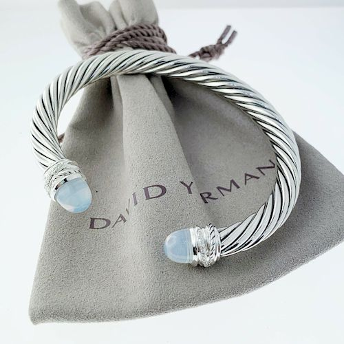 David Yurman Moonstone Diamond Crossover Bracelet