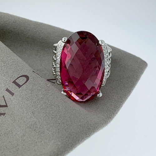 David Yurman Diamond Pink Tourmaline Oval Wheaton Ring