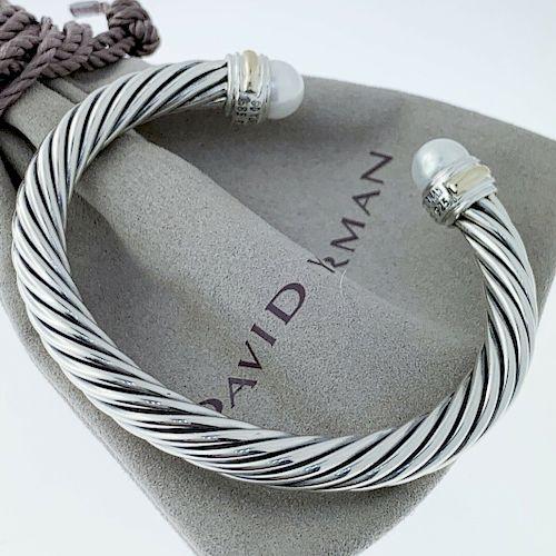 David Yurman Cable Classic  Pearl 14k Bracelet 7mm