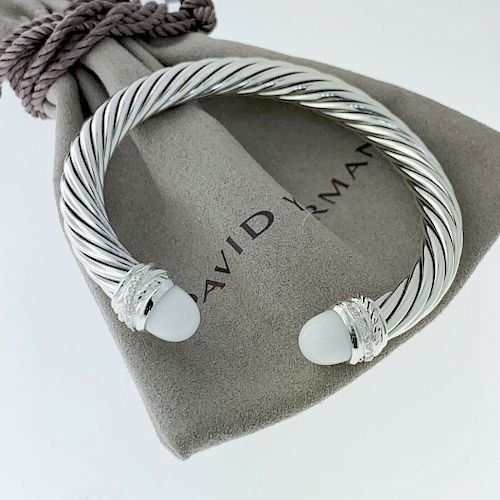 David Yurman White Agate Diamond 7mm Classic Bracelet