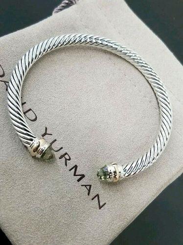 David Yurman Silver 18k Gold Prasiolite  5mm Bracelet