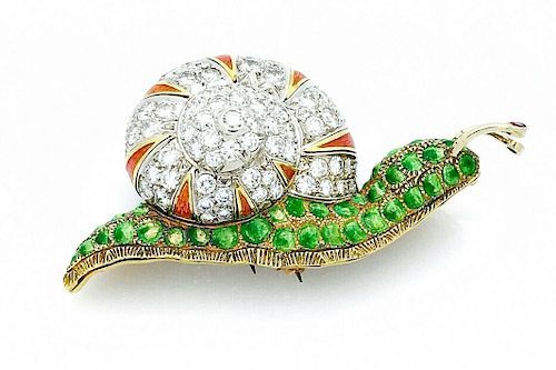MOBA Italy  18k Yellow Gold & Diamond Snail  Brooch /