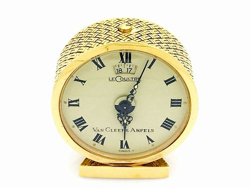 Van Cleef & Arpels Le Coultre 18k Gold Alarm Clock