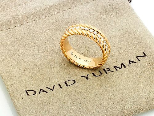 David Yurman 18k Gold Diamond 7.5mm Ring / Band Size