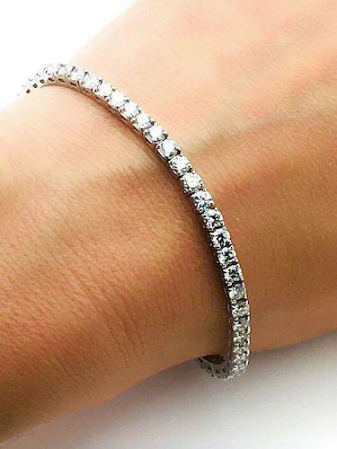 "14k White Gold 6.24 TCW Diamond Tennis Bracelet 6.75"""