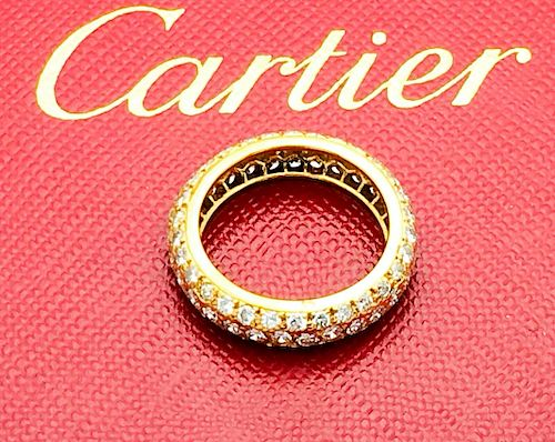 Cartier 18k Gold Diamond Eternity Band /Ring Size 4.5