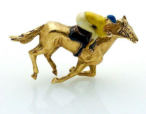 """14k Gold & Enamel Equestrian 1.5"""" Pin / Brooch"""
