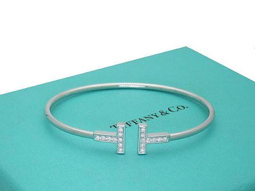Tiffany and Co 18k White Gold T Diamond Wire Bracelet