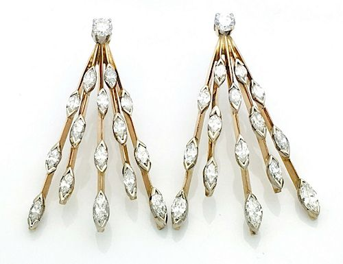 "14k Gold 5.00TCW VS/G-H Diamond Earrings 1.5"" L"