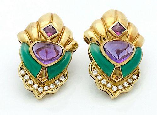 Marina B 18k Gold Amethyst Chalcedony Diamond Earrings