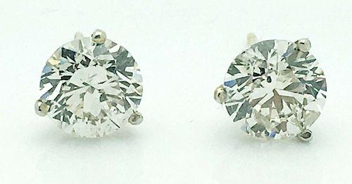 14k Gold 3.08TCW Diamond Stud Earrings