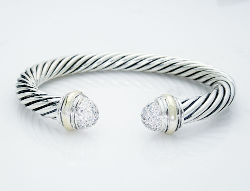 David Yurman Cable Classics Bracelet Diamond 18K Gold,