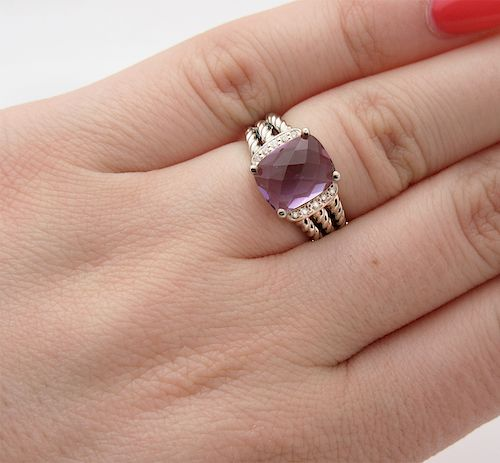 David Yurman Wheaton Petite Amethyst 0.08tcw Diamond